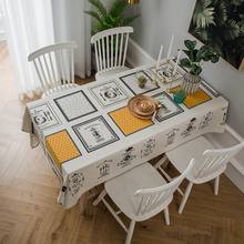 Simanfei Modern Decorative Table Cloth Rectangle Tablecloth Home Kitchen Square Printing Party Banquet Dining Table Cover simanfei linen table cloth country style plaid print stylish rectangle table cover tablecloth home kitchen decoration