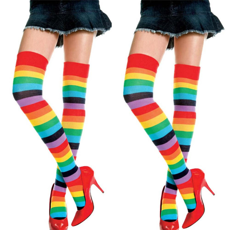 50pcs/lot Fashion Women Over Knee Socks Rainbow Striped High Thigh Long Stripey Stocking Socks