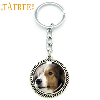TAFREE Innocent sheltie Key Chain cute interesting dog Keychain 2017 new arrival for women Rhodium Plated novelty jewelry DG38 image