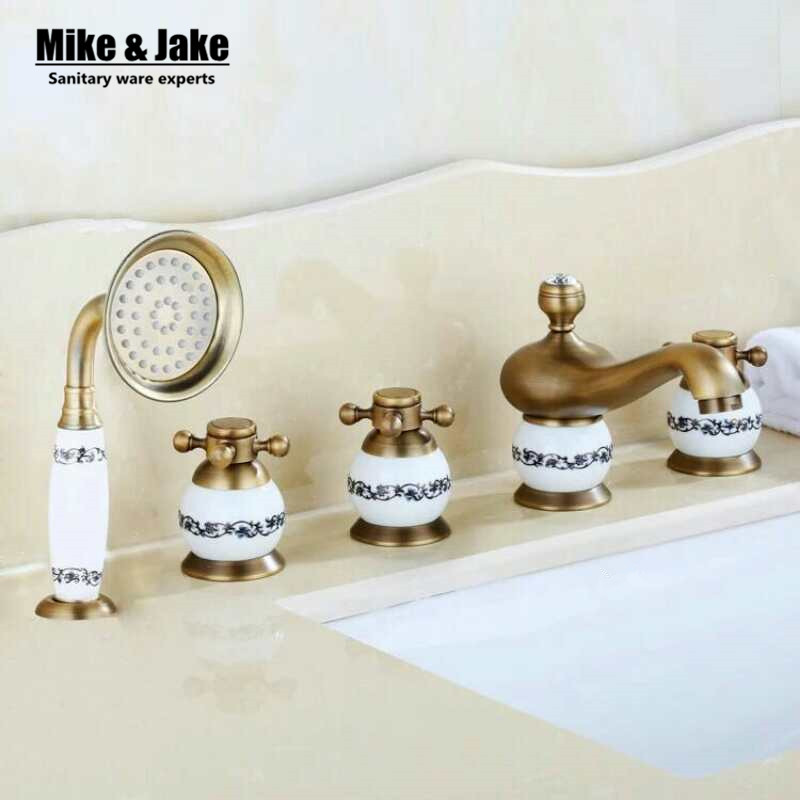 Antique Brass 5pcs Bathroom Tub Sink Faucet with Hand Shower Deck Mounted 5 Holes Three Cross Handles Bathtub Taps MJ357