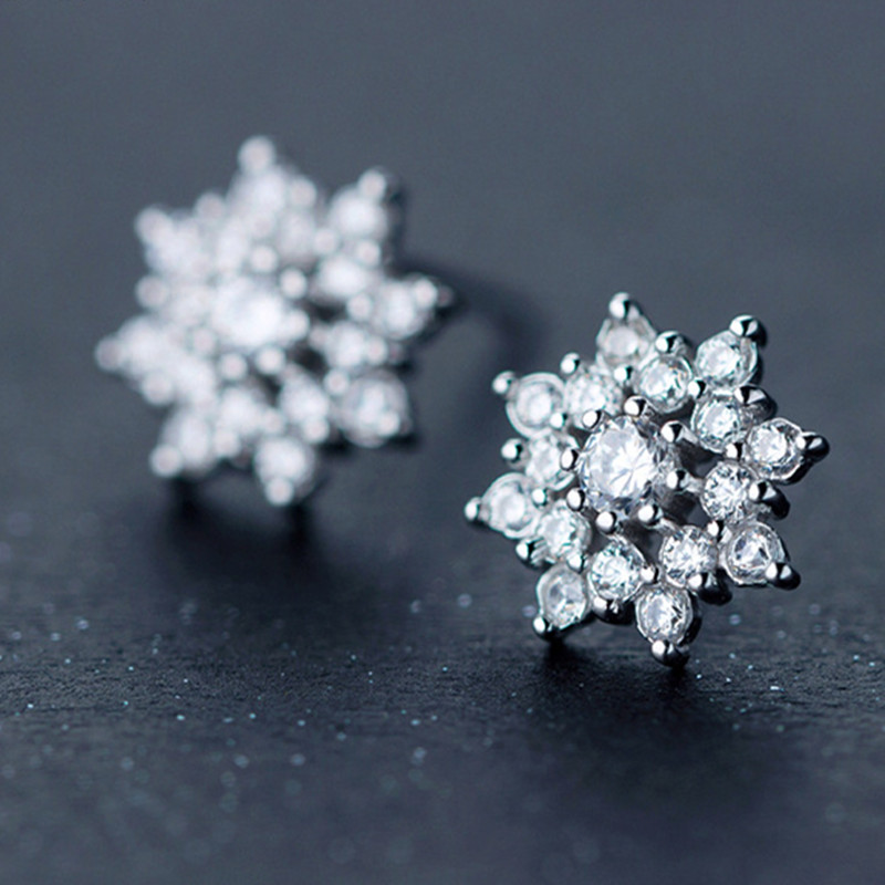Jemmin 925 Sterling Silver Crystal Earrings Luxury Classic Flower Jewelry For Women Girls Wedding Engagement Decoration