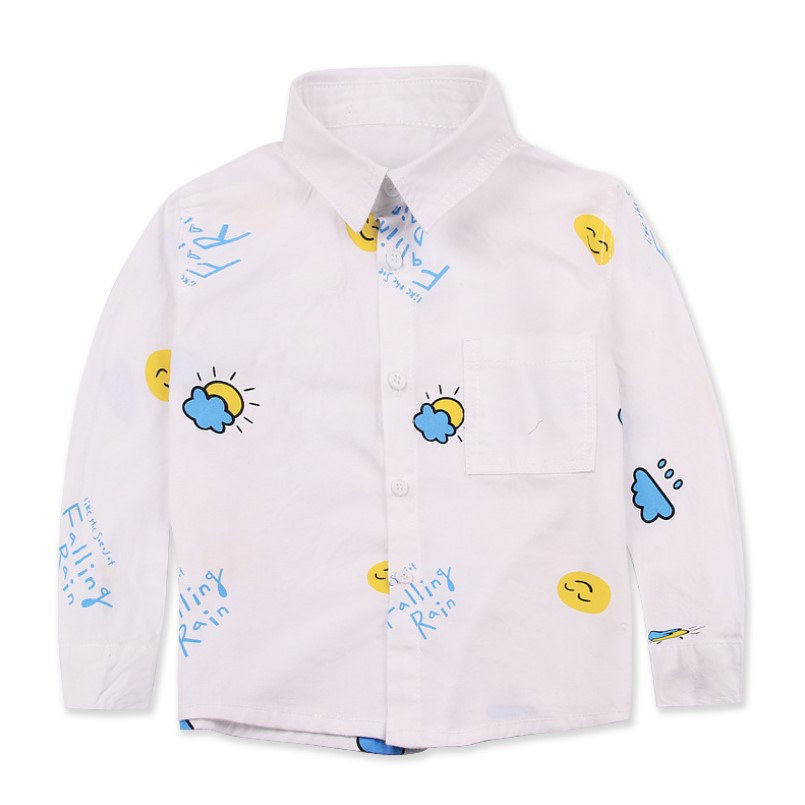 Wholesale Spring 2018 New Brand Long Sleeve Printed Boys Shirt 100% Cotton Baby Tops Toddler Kids Girls White Blouse 3 6 Years wholesale child fanny sunglasses 2016 brand new korean sun glasses for girls boys glases