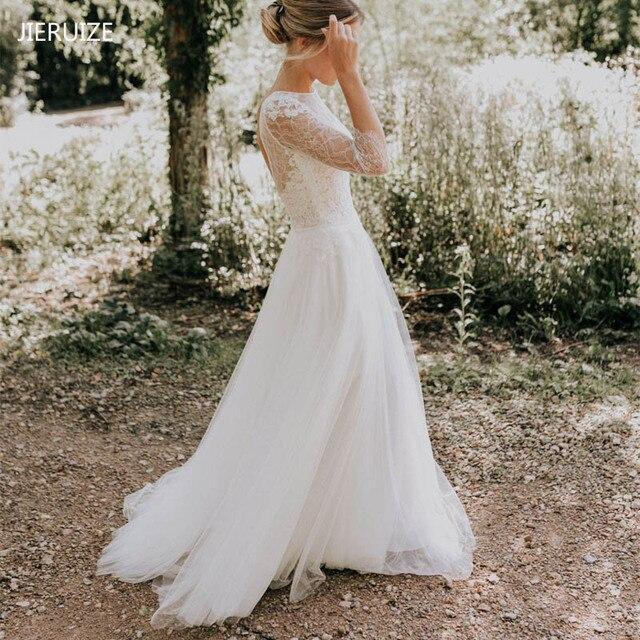 JIERUIZE o Laço Branco Backless Boho Vestidos de Casamento 3/4 Mangas Verão Praia Vestidos De Casamento Vestidos de Noiva