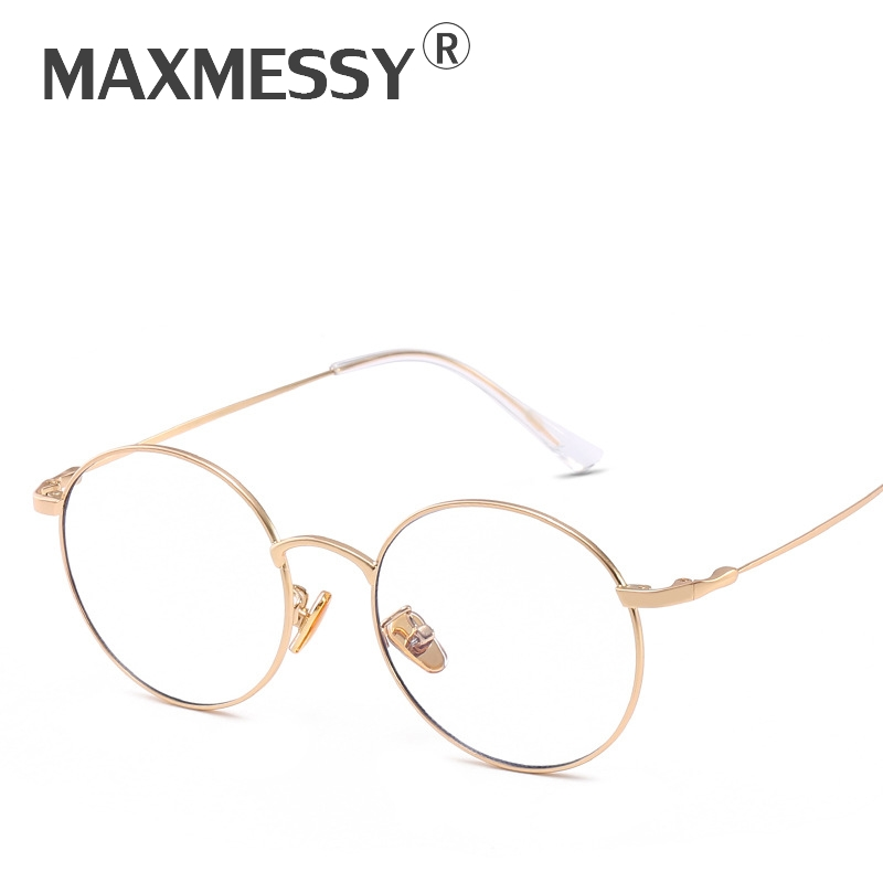 MAXMESSY Ultra Light Anti Blue Rays Round Gold Glasses Women Optical Computer Gaming Goggles Prescription Eyeglasses Frames F068