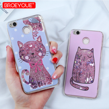 BROEYOUE Liquid Glitter Case For Redmi Note 5 Pro 4X 4A 5A Cartoon Cat Flower Bottle Quicksand Case For Redmi Note 4 4X Note 5