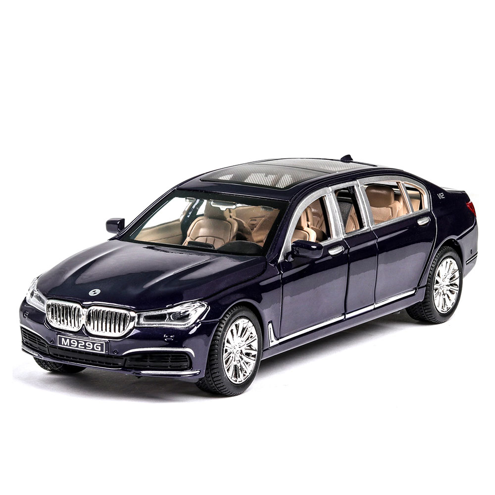 Diecast 1/24 Extend 760LI Model Simulation Metal Car Alloy Cars Lights Sound Vehicles Pull Back Toys Gifts For Kids Children