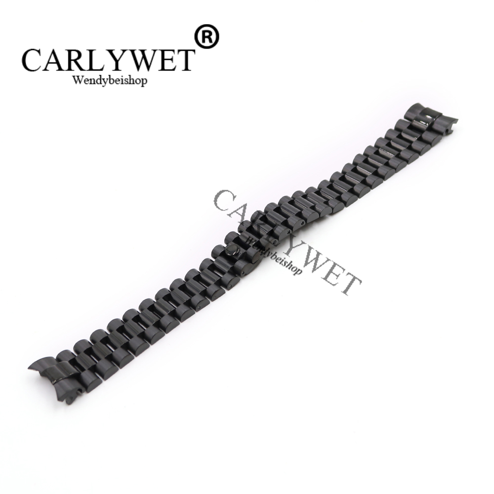 CARLYWET 20mm Wholesale Black Solid Curved End Screw Links Stainless Steel Replacement Wrist Watch Band Bracelet Strap Belts stylish 8 led blue light digit stainless steel bracelet wrist watch black 1 cr2016