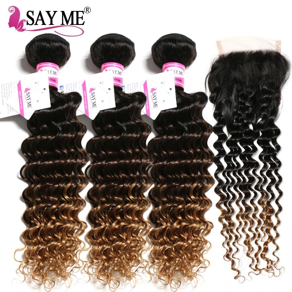 1B 4 27 Brazilian Deep Wave Bundles With Closure Blonde Ombre Human Hair 3 Bundles With