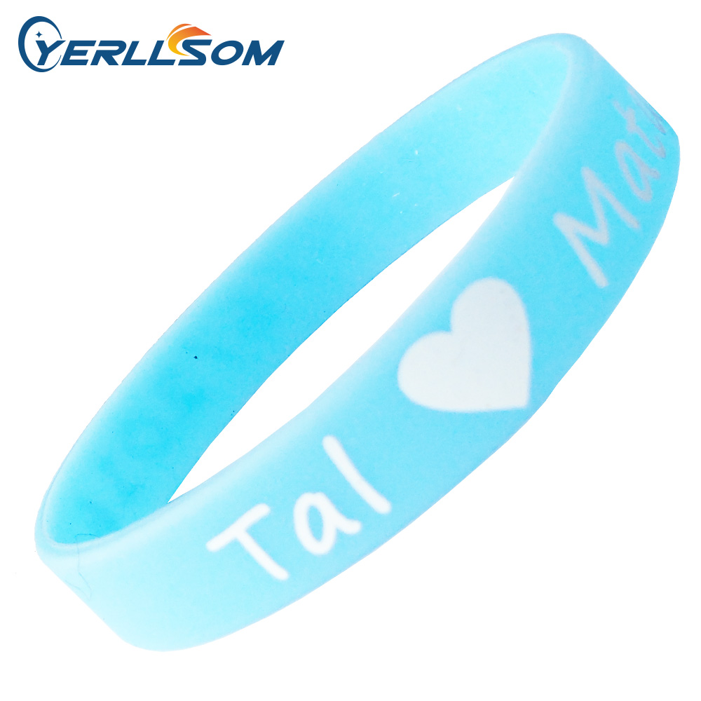 YERLLSOM 300PCS lot custom 1color print texts logo Bracelets Silicone P1405212 silicone bracelet for events promotion