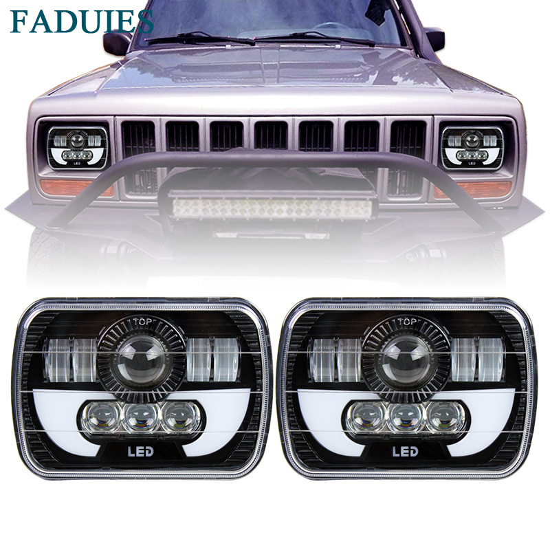 FADUIES 5x7 Auto DRL Led headlamp 5x7 Inch Led Truck Headlight 6x7 High Low beam Square Led headlight For Jeep Cherokee XJ pair square 5x7 inch led headlight daymaker sealed beam replacement truck light high low beam headlamp for jeep wrangler yj
