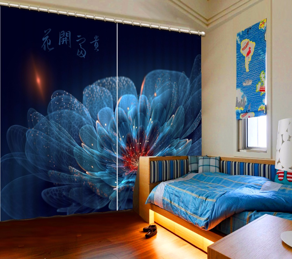 3D Curtain Customize Size Dark Blue Flowers Curtain Blackout Shade Window Curtains Bed Room Living Room Office Hotel Cortinas