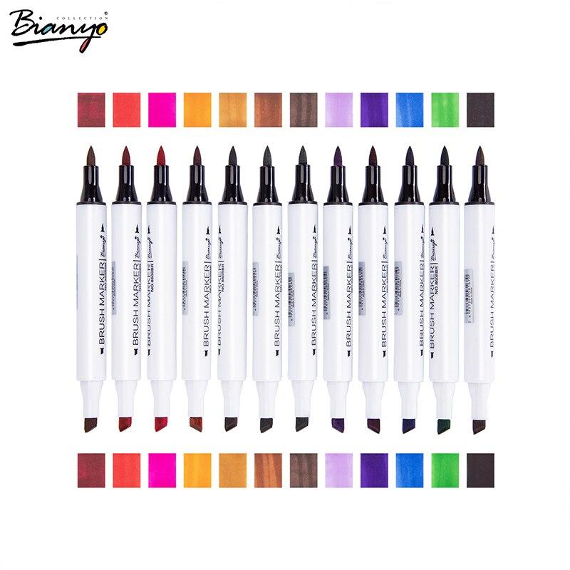 Bianyo 2018 24 couleurs double pointe Art marqueurs brosse stylos en vedette 24 couleurs papeterie école bureau fournitures artiste étudiants cadeau