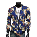 Floral impresso marca bape clothing manga comprida gola magro Jaquetas Bomber Homens Zipper Up Black White Blue Mens Casacos 2017