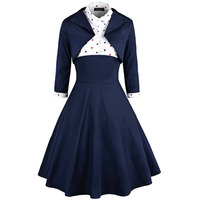 Elegant Sexy Retro 2 Piece Set Autumn Winter Women Dresses Vintage Rockabilly Robe Pin Up Long