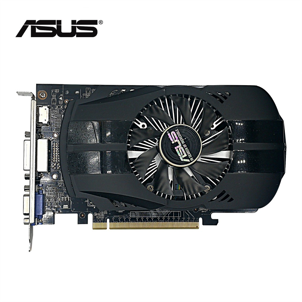 Used,original ASUS GTX 750 2G GDDR5 128bit  HD graphic card with HDMI,DVI,VGA port,100% tested good! видеокарта asus geforce gtx 1060 1620mhz pci e 3 0 6144mb 8208mhz 192 bit dvi hdmi hdcp rog strix gtx1060 o6g gaming