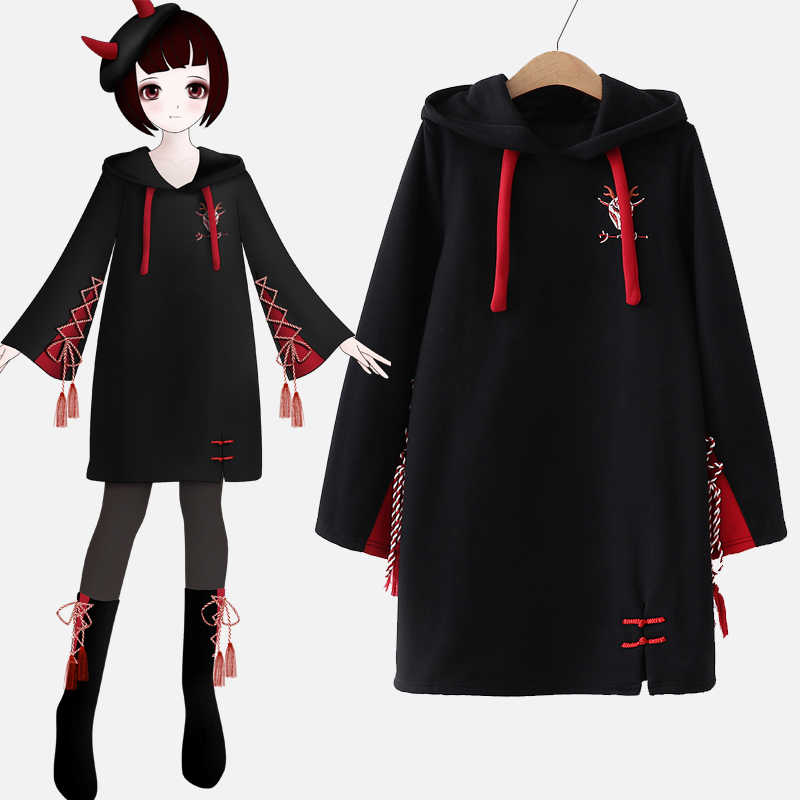 Japanische Gothic frauen Stickerei Spitze-up Flare Hülse Pullover Winter Herbst Lange Hoodies Hülse Patchwork Verdicken Sweatshirt