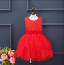 New Baby Kids Red Lace Floral Sashes Vest Thicker Dress, Princess Girls Fashion Party Dresses 4 pcs/lot,Wholesale