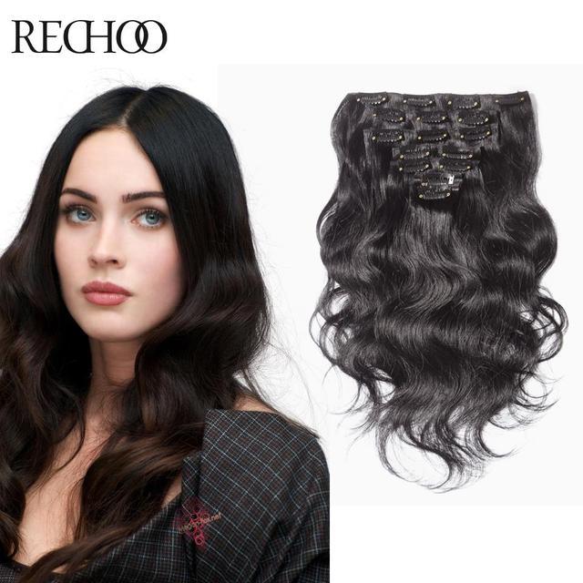 Extensiones Clipe Remy 100% Grampo de Cabelo Humano # 1B Cor Natural Em Extensões de cabelo 22 24 26 Polegadas Brasileira Clipe Onda Do Corpo Ins