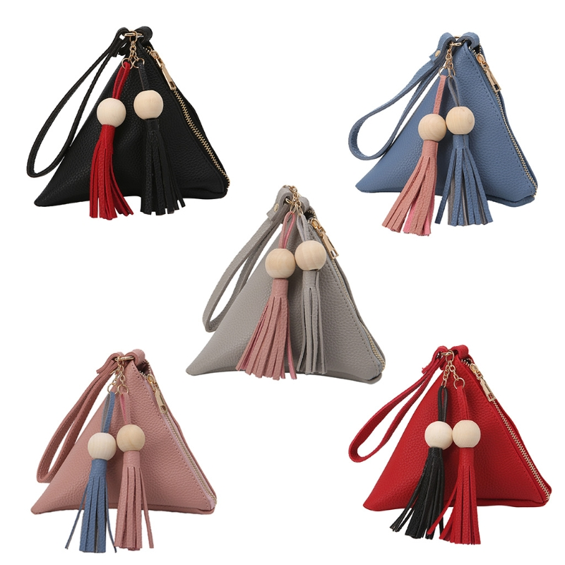 THINKTHENDO New Fashion Women Tassel Beads Clutch Triangle Shape Handbag Purse Bag 5 Colors Top Quality