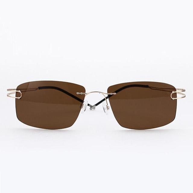 2016 designer de Marca não-parafuso óculos polarizados ultra-leve 100% beta titânio puro sem aro óculos de sol óculos óculos óculos de sol óculos de sol