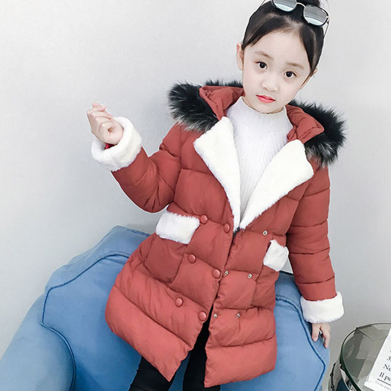 Children Cotton Jackets For Teenage Girls 2018 Winter Thick Warm Long Coats Kids Fur Hooded Outerwear Padded Clothes 5-16 Years new 2018 fashion fur hooded long cotton jackets for little teenage girls outerwear tops kids thick warm coats padded clothing