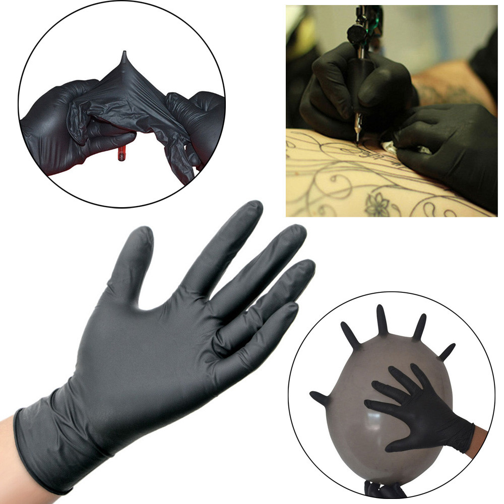 50PCS Tattoo accesories Comfortable Rubber Tattoo Gloves Disposable Mechanic Nitrile Gloves Black BB# dropship однофазный стабилизатор напряжения энергия асн 500