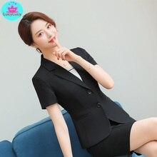 дешево!  2019 лето женская корейская мода темперамент с короткими рукавами черный костюм юбка профессиональны