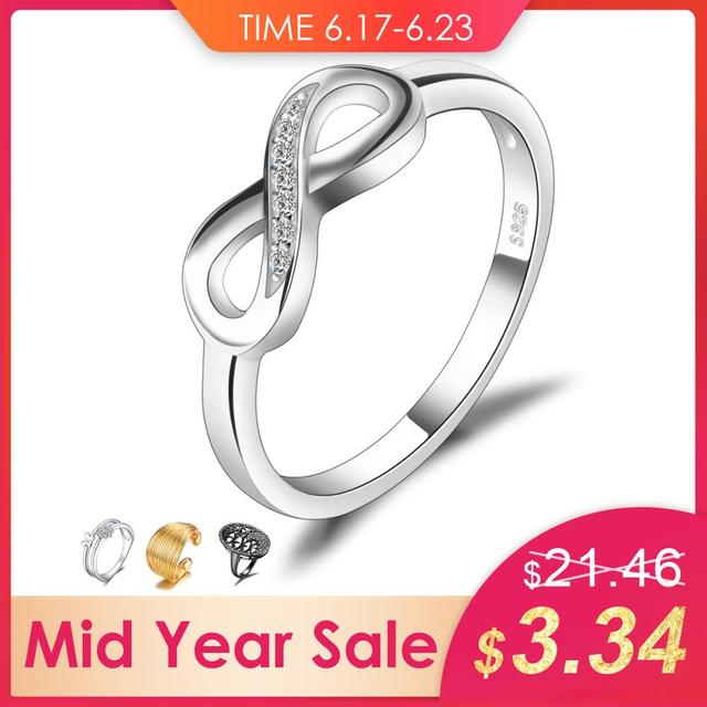 JewelryPalace Infinity Forever Love 925 Sterling Silver Rings Cubic Zirconia Promise Stackable Rings Jewelry for Women