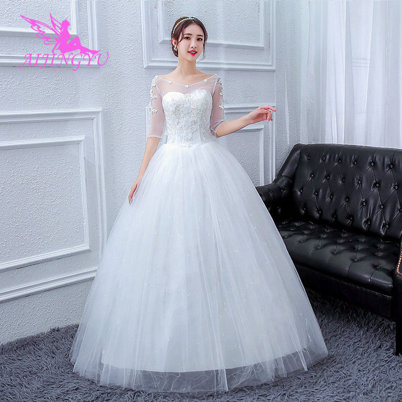 AIJINGYU 2018 Sweet Free Shipping New Hot Selling Cheap Ball Gown Lace Up Back Formal Bride Dresses Wedding Dress FU220