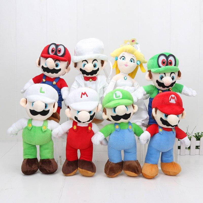 8 unids/set 25 cm Super Mario Bros Mario Luigi melocotón Cappy el vestido de boda novio disfraz Mario peluche muñeca-in Cine y TV from Juguetes y pasatiempos    1