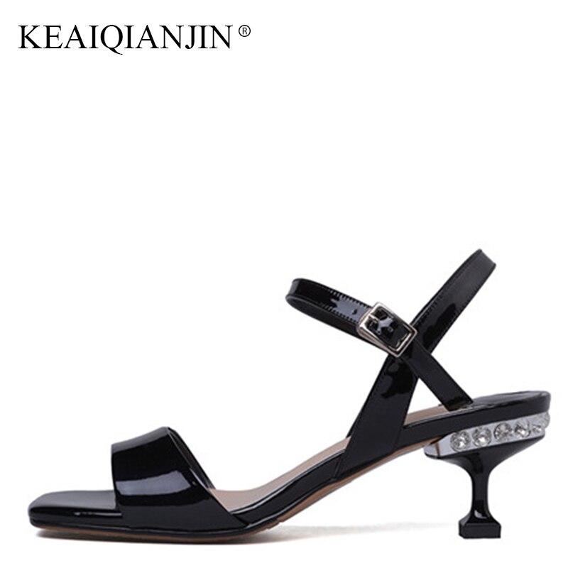 Sandalias Más Mujer Genuino Verano Tamaño Negro Cuero Zapatos Fiesta wNXkZn08OP