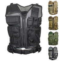 Men Military Tactical Vest Paintball Camouflage Molle tactical Vest Assault Shooting Plate Carrier With Holster