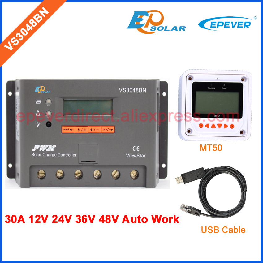 PWM controller for off grid solar panel system use VS3048BN 30A 30amp USB communication cable and white MT50 meter ep new series pwm regulator solar panel system controller with usb cable and mt50 remote meter vs3024bn 30a 30amp