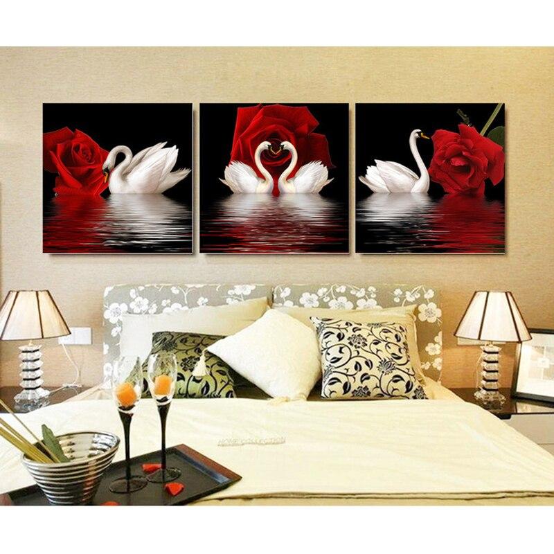 Pełna, Diament malarstwo, Dżetów, Tryptyk, Diament mozaika, kwiaty, Czerwona Róża Łabędź, Dekoracyjne malarstwo, Diy, Diament hafty
