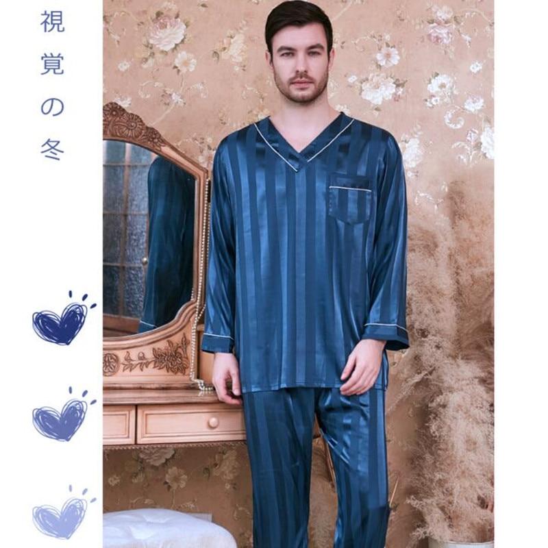 Men's Striped Leisure Pajamas Ice Silk Plus Size Long-sleeved Suit Sleeping Satin Sleepwear Clothes All Seasons Homewear J010