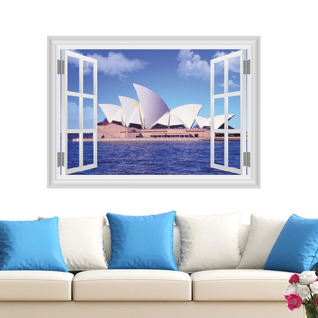 Sydney Opera House Scenery Wall Stickers 3d Vivid Wall Window Decals Bedroom  Living Room Decor Restaurant Part 93