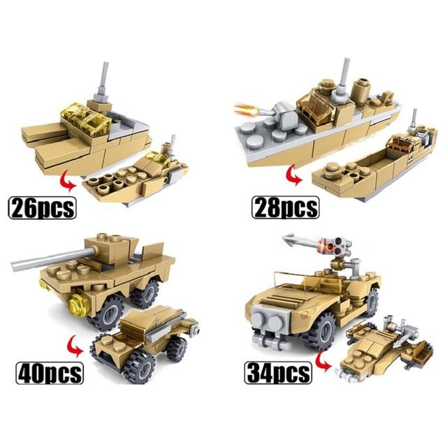 544PCS Tank Building Blocks Bricks Military Vehicles Compatible Legoe Weapons Brinquedo Menina Toys For Children 16 in 1