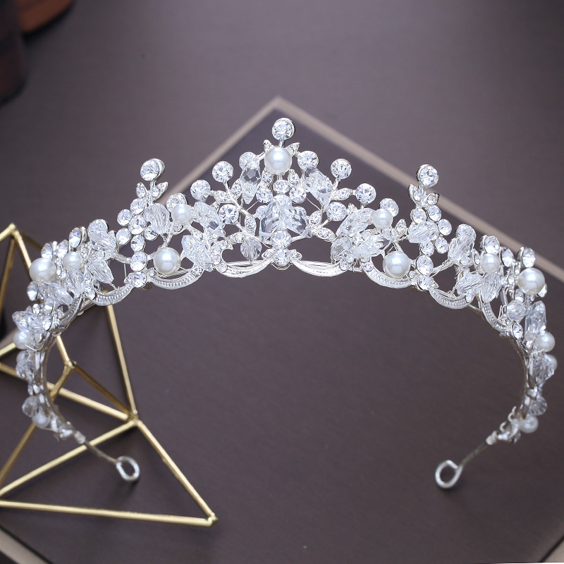 Baroque Crystal Pearl Bridal Tiaras Crown Princess Queen Pageant Prom Rhinestone Veil Tiara Headband Wedding Hair Accessories baroque pink rhinestone pearl bridal crowns handmade tiara headband crystal wedding diadem queen crown wedding hair accessories