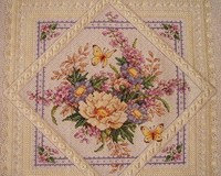 X X FISH Cross Stitch T063flowers Square Flowers Elegant Plain Hemp Color 11CT Need To Embroidery