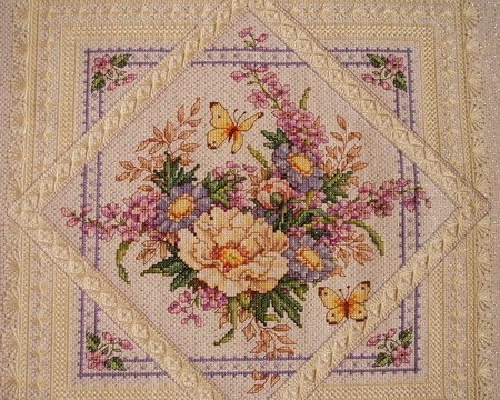 Cross Stitch Kits T063 Square Flowers Elegant Plain Hemp Color Paintings on Needlework Sets Embroidery 100% Egyptian Cotton