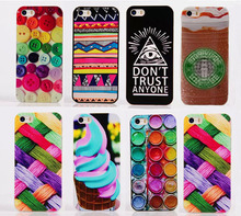 For iPhone 5S case Button Ice cream Colour cloth pattern PC Hard Back Case Cover For