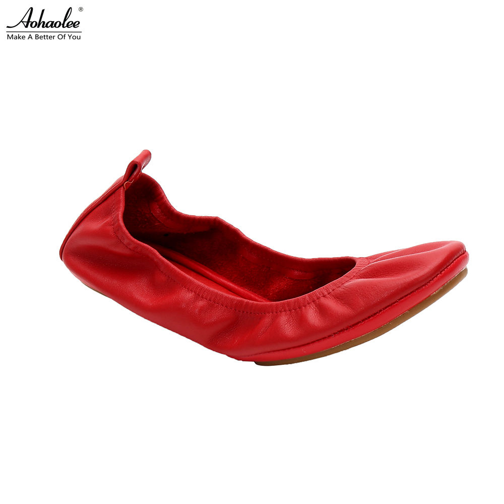 Aohaolee 2 Pairs Hot Fashion Women's Ballerina Shoes Comfort Genuine Leather Shoes Ballet Flats Foldable Flats Pregnant Shoes aohaolee 5 pairs lot women shoes ballet flats portable fold up shoe ballerina flat shoe roll up prom bridal wedding party shoes