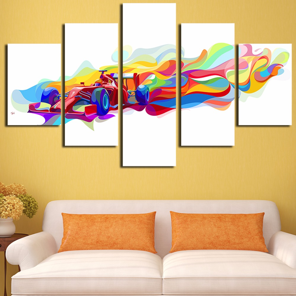 Unframed Colorful Four Wheel Drive Car 5 Piece Modern Wall Painting ...