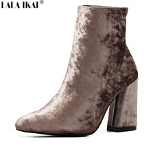 LALA IKAI Women Boots 2017 Velvet Pointed Toe Ankle Boots for Women High Heels Fashion Slip-On Spring And Autumn Boots XWN1249-5
