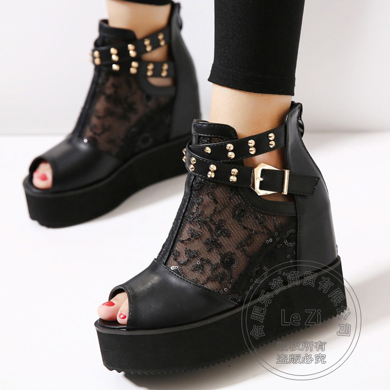 Creepers Lace Single Wedges Shoes For font b Women b font Peep Toe High Heels Platform