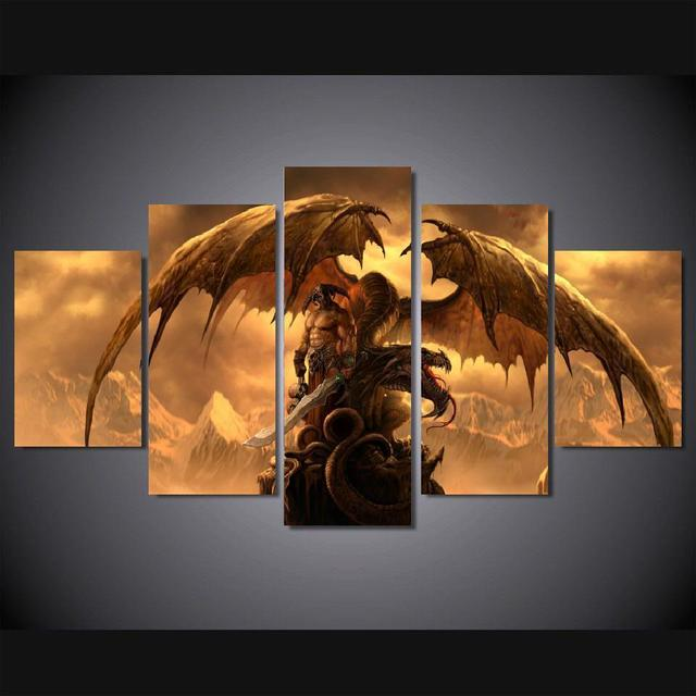 5 Panels Wall Art Dragon Fantasy Sword Warrior Art Wall Decor Paintings  Canvas Unframed