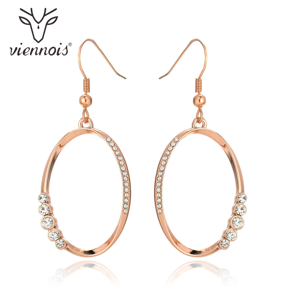 Viennois Brand Rose Gold Color Dangle Earrings for Women Rhinestone Paved Long Drop Earrings ...
