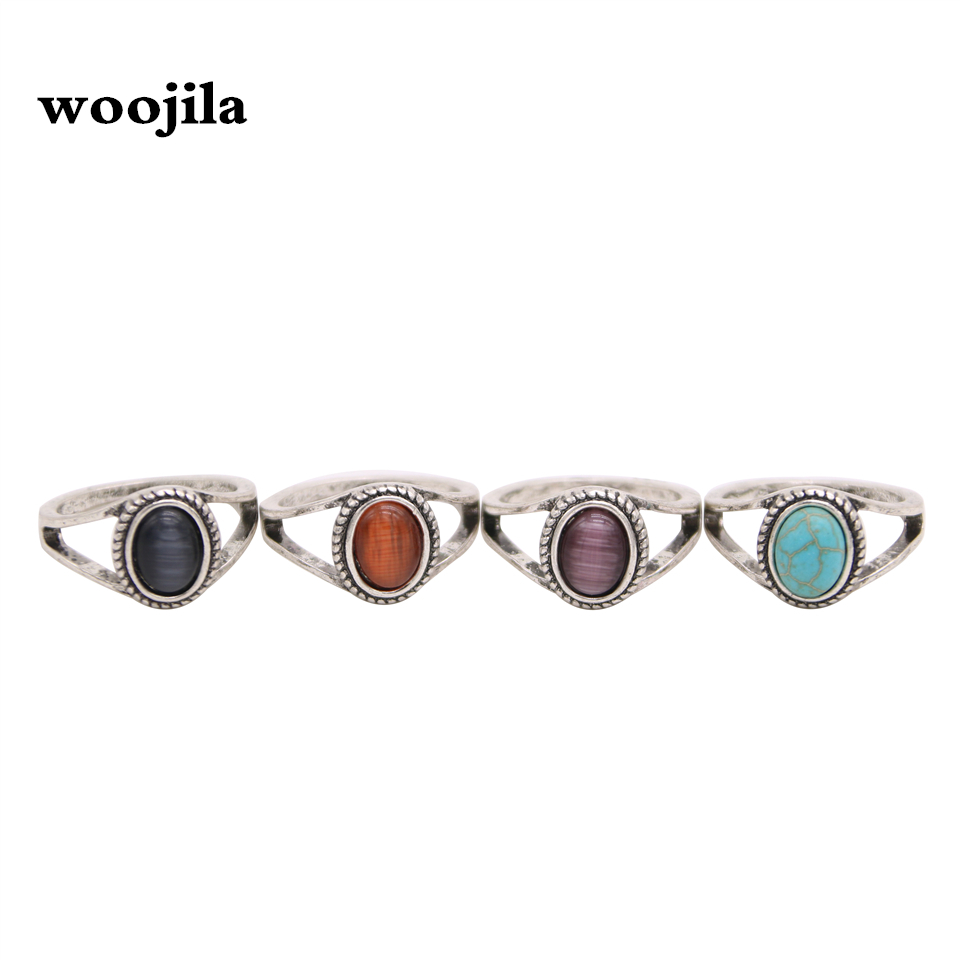 Fashion antiqued silver rings, Artificial blue stone rings, Purple stone red stone rings for women