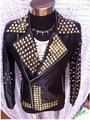 Men New fashion male black leather jacket rivet tassels bar stage show costume nightclub Dj bodysuit for men singer outerwear