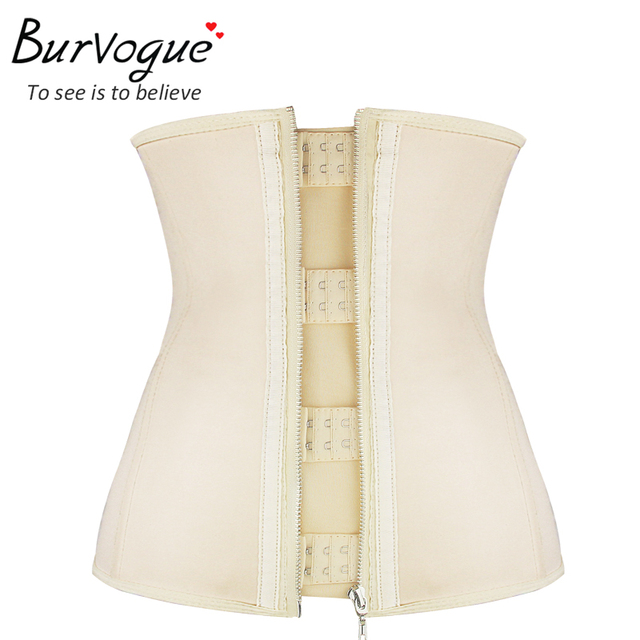 Burvogue Steel Bones Corset latex underbust waist cincher corset and bustier for woman black corselet shaper